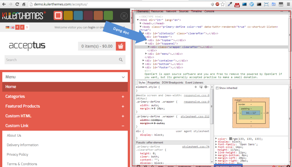Chrome Dev Tools - Vertical